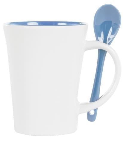 10 oz. Ceramic Mug with Spoon - White / Blue