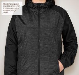 Sport-Tek Ladies Heather Raglan Hooded Full Zip Jacket - Color: Black Heather / Black