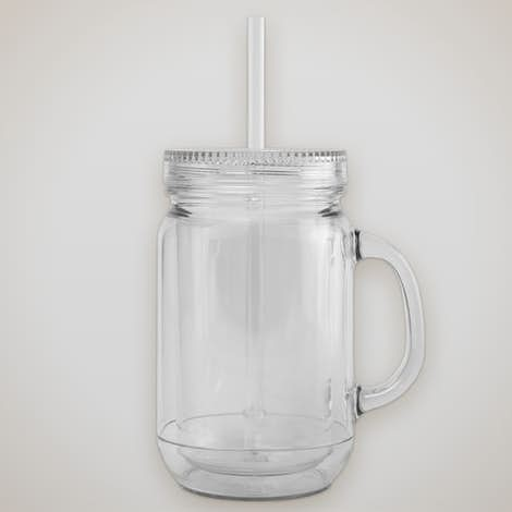 20 oz. Mason Jar-Style Acrylic Mug - Clear