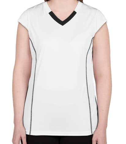 Augusta Ladies Contrast V-Neck Volleyball Jersey - White / Black