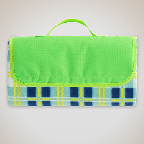 Roll-Up Picnic Blanket - Lime / Light Blue