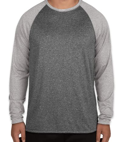 Augusta Heather Raglan Long Sleeve Performance Shirt - Black Heather / Athletic Heather