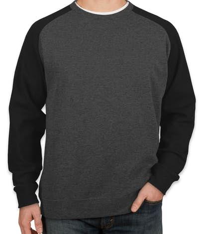 Independent Trading Heather Raglan Crewneck Sweatshirt - Charcoal Heather / Black