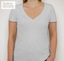 Next Level Juniors Tri-Blend Deep V-Neck T-shirt - Color: Heather White
