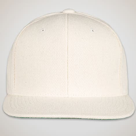 Yupoong Wool Flat Bill Snapback Hat - Natural