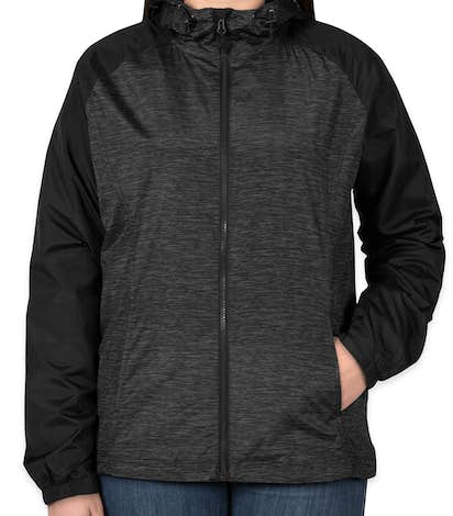 Sport-Tek Ladies Heather Raglan Hooded Full Zip Jacket - Black Heather / Black