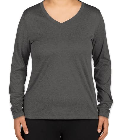 Sport-Tek Ladies Long Sleeve Heather V-Neck Performance Shirt - Graphite Heather