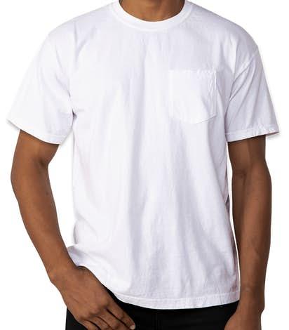Custom comfort colors 100 cotton pocket t shirt design for Custom pocket t shirts