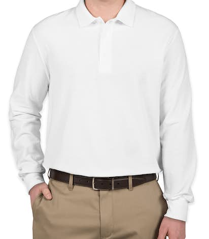 Gildan Dryblend Double Pique Long Sleeve Polo - White