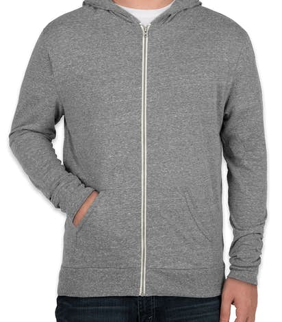 Threadfast Tri-Blend Full Zip T-shirt Hoodie - Grey Triblend
