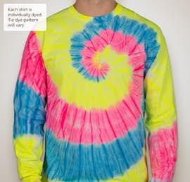 Port & Company Tie-Dye Long Sleeve T-shirt - Color: Neon Rainbow