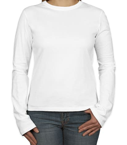 Bella Juniors Long Sleeve Jersey T-shirt - White