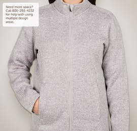 Devon & Jones Ladies Full Zip Sweater Fleece Jacket - Color: Grey Heather