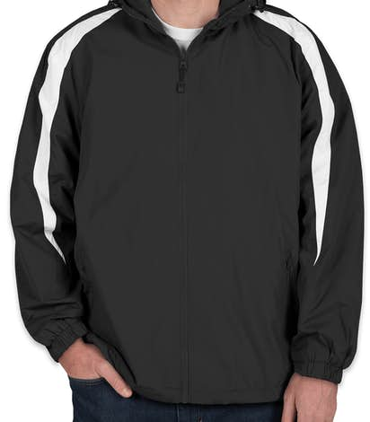 Sport-Tek Fleece Lined Colorblock Hooded Jacket - Black / White