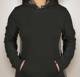 Sport-Tek Ladies Colorblock Performance Pullover Hoodie - Color: Black / Dark Smoke Grey