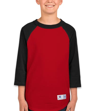 Champion Youth Baseball Raglan  - Scarlet / Black