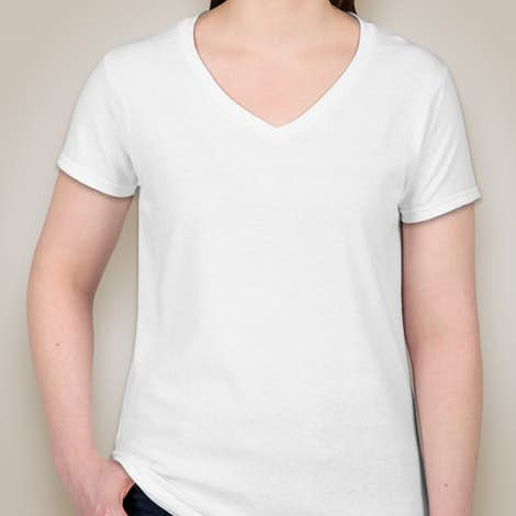 Canada - Gildan Ladies 100% Cotton V-Neck T-shirt - White