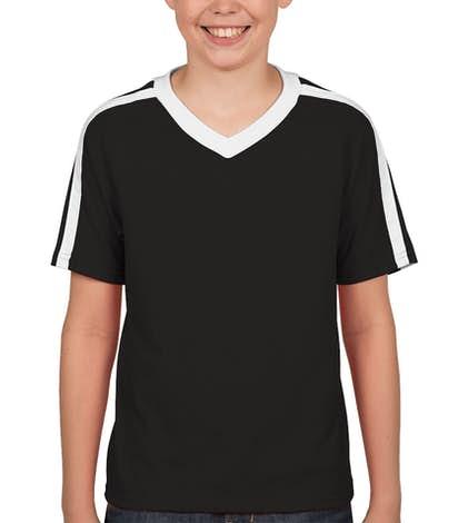 Augusta Youth Shoulder Stripe Jersey T-shirt - Black / White
