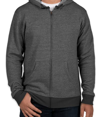Next Level Melange Zip Hoodie - Black