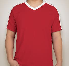 Augusta Shoulder Stripe Jersey T-shirt - Color: Red / White