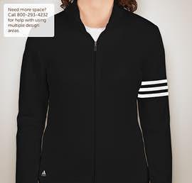 Adidas Ladies ClimaLite Full Zip Performance Sweatshirt - Color: Black / White
