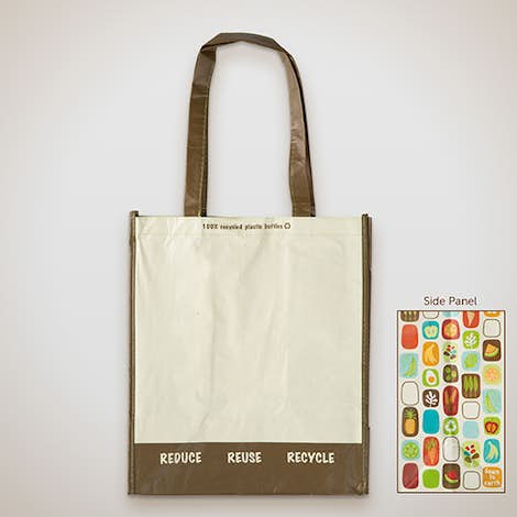 Large Laminated 100% Recycled Shopper Tote - Natural / Brown
