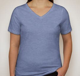 Bella Ladies Tri-Blend V-Neck T-shirt - Color: Blue Triblend