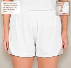 Team 365 Ladies Colorblock Performance Shorts - Color: White / Sport Silver
