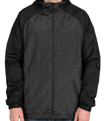 Sport-Tek Heather Raglan Hooded Full Zip Jacket - Black Heather / Black