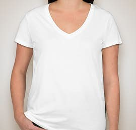 Alternative Apparel Ladies Relaxed V-Neck T-shirt - Color: White