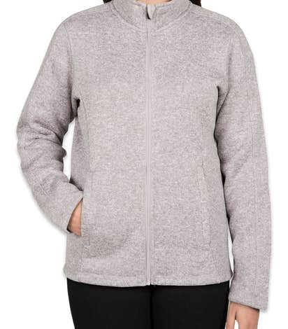 Devon & Jones Ladies Full Zip Sweater Fleece Jacket - Grey Heather