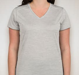 Augusta Ladies Tonal Heather V-Neck Performance Shirt - Color: Silver