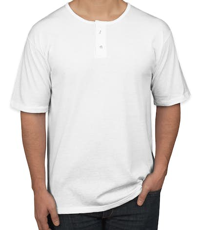 Augusta 2-Button Baseball Henley - White