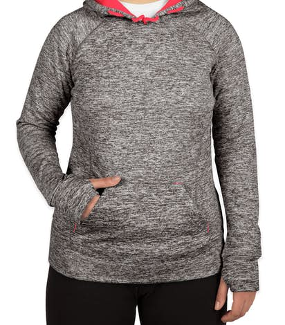 J. America Ladies Cosmic Performance Pullover Hoodie - Charcoal Fleck / Fire Coral