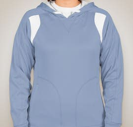 Team 365 Ladies Contrast Performance Pullover Hoodie - Color: Sport Light Blue / White