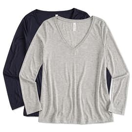 Bella + Canvas Ladies Flowy Long Sleeve V-Neck T-shirt