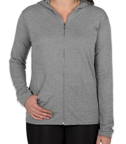 Anvil Ladies Tri-Blend Full Zip T-shirt Hoodie - Heather Grey