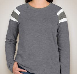 Augusta Ladies Fanatic Long Sleeve T-shirt - Color: Navy / Slate / White