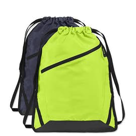 Adjustable Strap Contrast Zipper Drawstring Bag