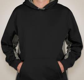 Sport-Tek Colorblock Performance Pullover Hoodie - Color: Black / Dark Smoke Grey