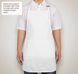 Stain Release Full Length Apron - Screen Printed - Color: White