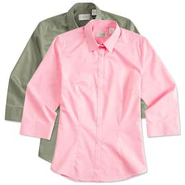 Van Heusen Ladies 3/4 Sleeve Baby Twill Dress Shirt