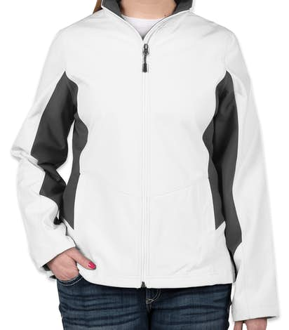 Port Authority Ladies Colorblock Soft Shell Jacket - Marshmallow / Battleship Grey