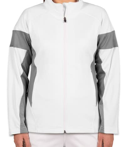 Team 365 Ladies Performance Warm-Up Jacket - White / Sport Graphite