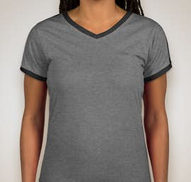 LAT Ladies Soccer V-Neck T-shirt - Color: Granite Heather / Vintage Smoke