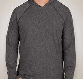 Next Level Hooded Melange Long Sleeve T-shirt - Color: Black