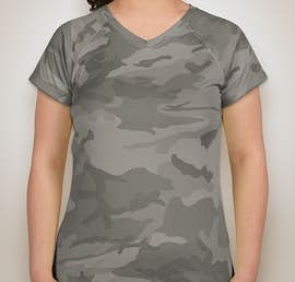 Champion Ladies Camo V-Neck Performance Shirt - Color: Stone Grey Camo
