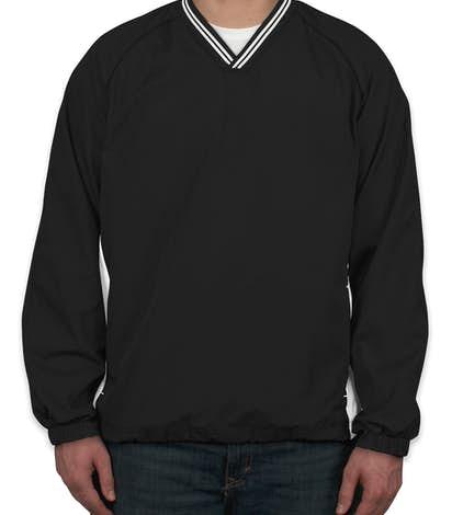 Sport-Tek Tipped V-Neck Windshirt - Black / White