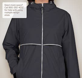 Charles River Ladies New Englander Hooded Rain Jacket - Color: True Navy / Reflective
