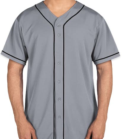 Augusta Wicking Mesh Contrast Trim Baseball Jersey - Silver Grey / Black